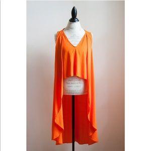 Zara Orange High Low Crop Top